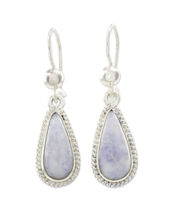 Novica Lavender Jade And 925 Sterling Silver Dangle Earrings Tear