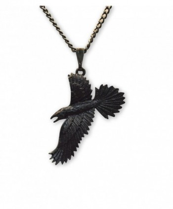 Black Raven Black Crow Gothic Pewter Pendant Necklace - CM11P46YAB1
