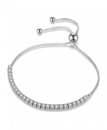 Adjustable Bracelet Round Cut Cubic Zirconia Paved Slider Tennis Bracelet for Women Girls - CJ186ZX50XX