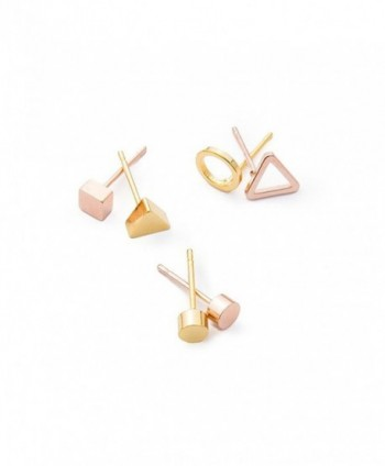 April Soderstrom Geo Stud Trio Earrings in Gold and Rose Gold - C4185DOLQEA