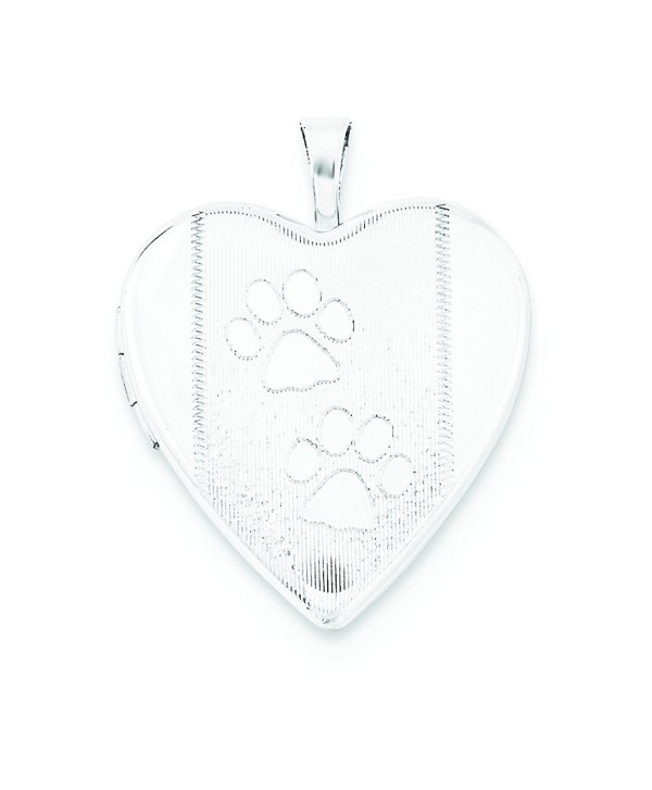 Sterling Silver 20mm Textured & Polished Paw Prints Heart Locket - CH11WHFOA5N