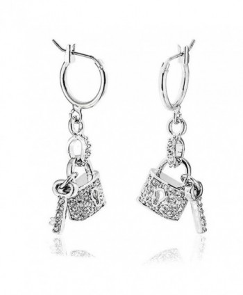 Bling Jewelry Crystal Lock and Key Charm Dangle Earrings Rhodium Plated Brass - CW11CZFSYFD