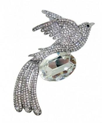 TTjewelry Fashion Phoenix Bird Austria Crystal Brooch Pin Pendant - White Silver-tone - CM12B7D6CMZ
