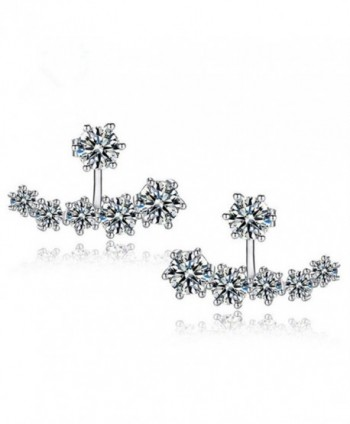 KOREA-JIAEN Earrings 925 Silver Plated Base Both Side Crescent Boat Charm Stud Earrings (Crescent) - C8186HLQLTI