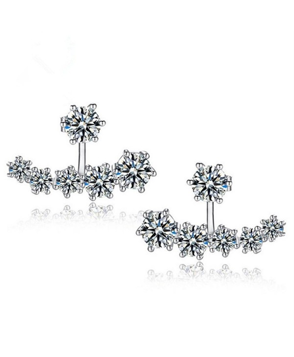 9d72d313a KOREA-JIAEN Earrings 925 Silver Plated Base Both Side Crescent Boat Charm  Stud Earrings (