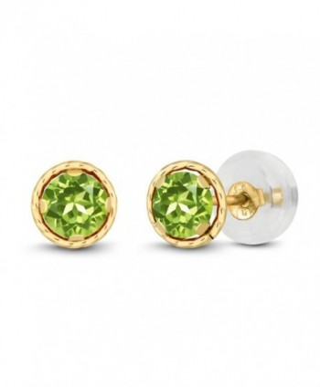 0.60 Ct Round 4mm Green Peridot 14K Yellow Gold Stud Earrings - CC11EEV8V2R