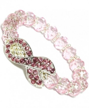 AnsonsImages Breast Cancer Awareness Crystal Rhinestone Ribbon Stretch Bracelet Pink - CT1847GQRDE