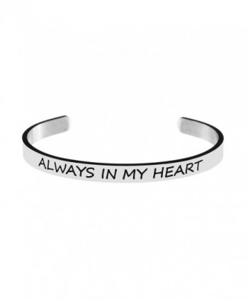 Bracelet for Best Friend Bangle Cuff Engraved Stainless Steel Always in My Heart - CB187ZERC4X