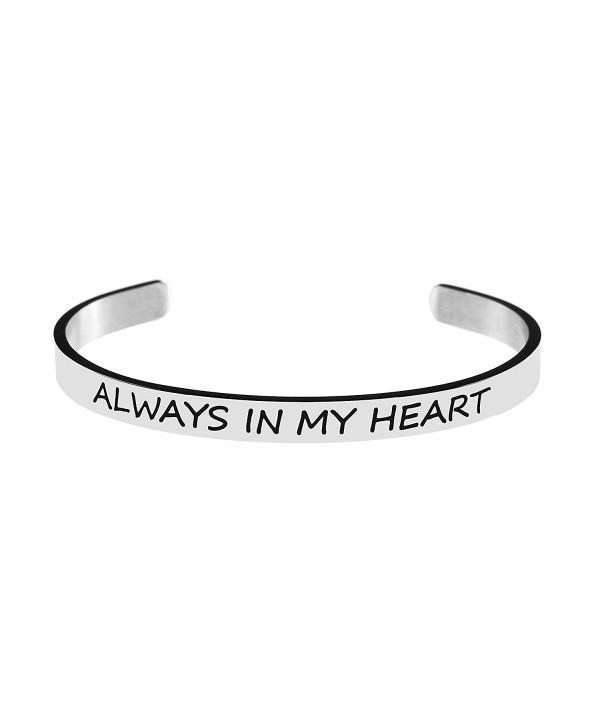 Bracelet for Best Friend Bangle Cuff Engraved Stainless Steel Always in My Heart - CB187ZERC4X