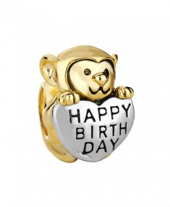 Monkey Love Happy Birthday Charm 22K Golden Plated Beads Sale Cheap Jewelry Fit Pandora Charm Bracelets - CS128DRKTOF