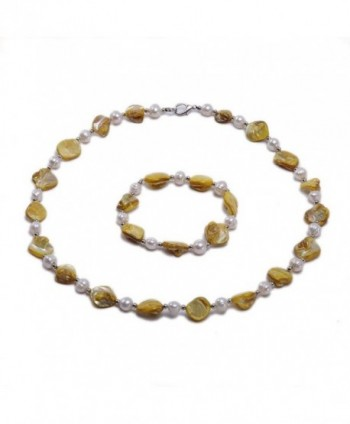 JYX White Freshwater&Seashell Pearl Necklace and Bracelet Set Jewelry for Women - Yellow - C112LOYDYCN