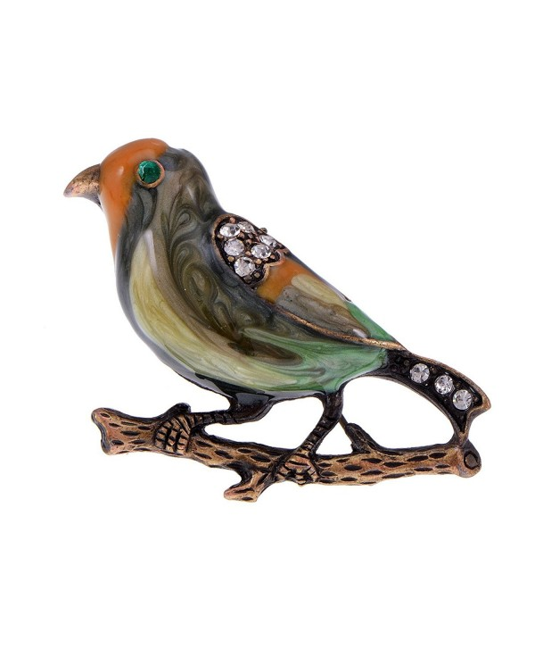 Alilang Antique Golden Clear Crystal Colored Rhinestones Multi Bird Sparrow Brooch Pin - CR1138HHRD7