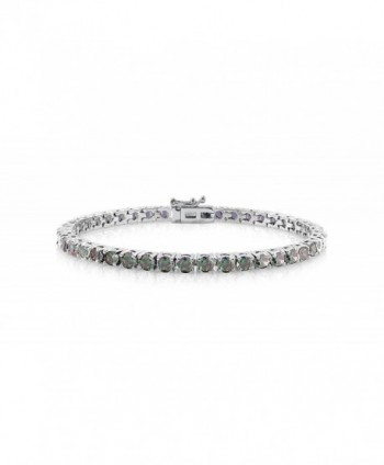 NYC Sterling Women's Rainbow Fire Shiny Lab Created Topaz Cubic Zirconia Tennis Bracelet - CP12NURHKP3