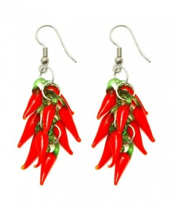 Funky Red Hot Chilli Glass Drop Cluster Earrings - CD11ZUB8YVD
