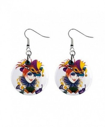 Mardi Gras Jester 9 Dangle Button Earrings Jewelry 13534581 - CR116WTPW5X