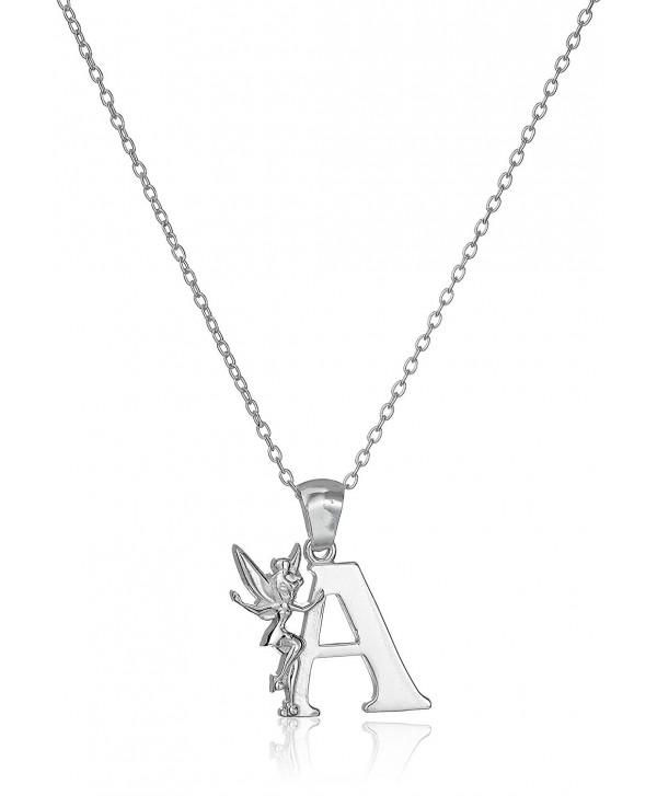"Disney ""Tinkerbell"" Initial Silver Pendant Necklace - CB11954KDO7"