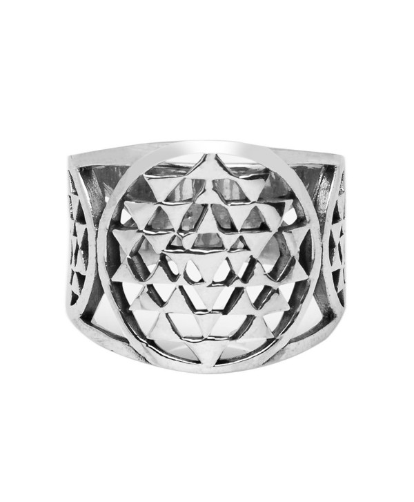 925 Sterling Silver Sri Yantra Sacred Geometry Talisman Unisex Large Band Ring 6- 7- 8 - CN12N2LHBBS
