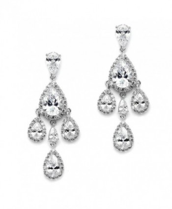 Mariell Clip On CZ Chandelier Bridal Prom Wedding Earrings - Silver Platinum Pear-Shaped Teardrop Dangles - CS12JGUEXGD