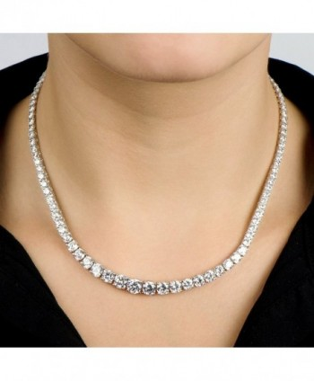 Swasti Jewels Zircon Solitaire Set Tennis Chain Necklace Earrings White Gold Plated for Women - C612BT1XG1P