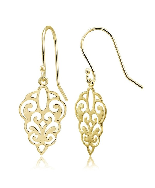 Sterling Silver High Polished Filigree Dangle Earrings - C1182IME00M