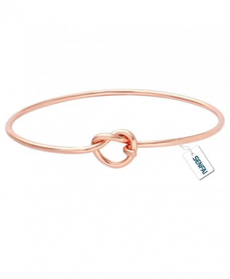 SENFAI Love Knot DIY Bracelet Hook Bangle Easy Open Add Multiple Beads Charms - Rose gold - CW12N2KDP71