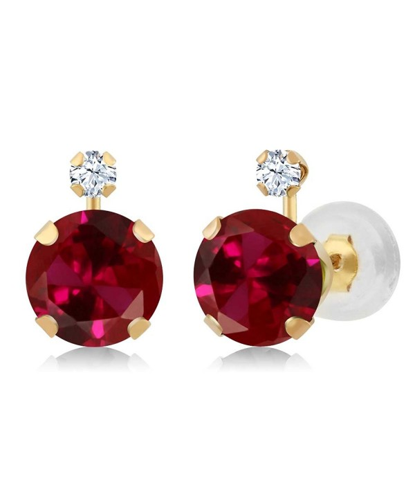 14K Yellow Gold Round Red Created Ruby & White Created Sapphire Women's Earrings (2.08 cttw) - CY11OWHX5VF