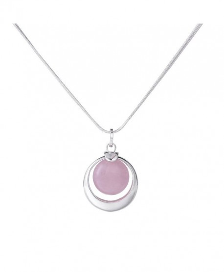 """Pink Quartz Necklace 24"""" Double Layered Silver Chain Gemstone Necklace Valentine's Day Gift - CY183O6NGX9"""