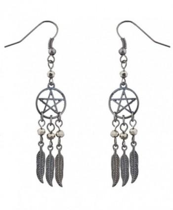 Lux Accessories Hematite Pentagram Beaded Dreamcatcher feather dangle earrings - CI12LV66TA7