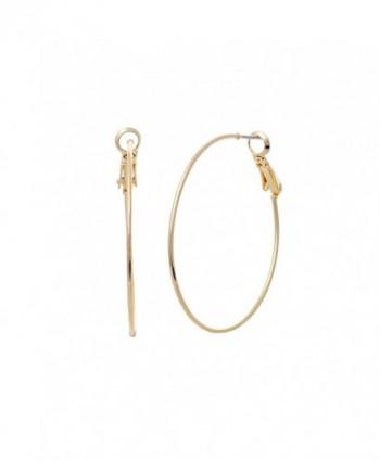 Rosemarie Collections Hypoallergenic Thin Hoop Earrings 40mm - Gold - CJ1882RLQAG