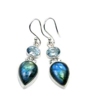 Mystic Princess' Sterling Silver Labradorite- Blue Topaz Dangle Earrings - CX12B1DNB11