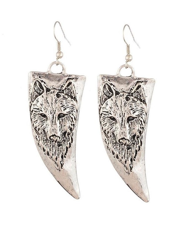 Yazilind Vintage Gold Plated Wolf Horn Drop Dangle Earrings for Women Gift - silvery - C911NQ1OLTD