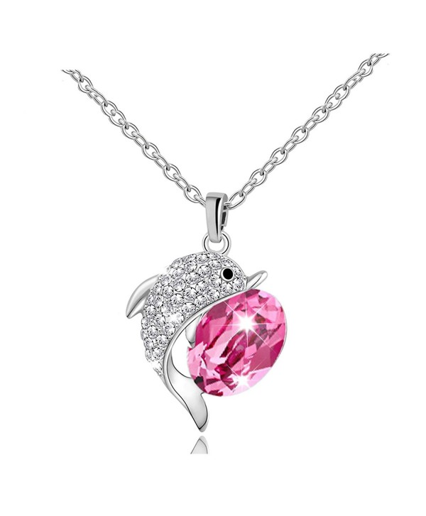 RARITYUS Fashion Women's Swarovski Crystal Lovely Dolphin Pendant Necklace Jewelry - red - CL187DX53E5