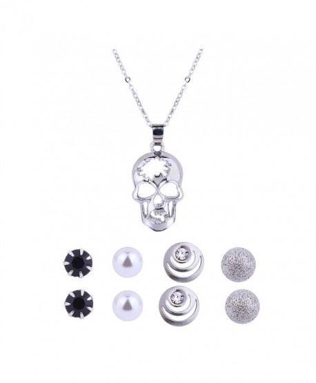 Shoopic Crystal Pearl Earrings and Heart Rose Skull Pendant Necklace Jewelry Set for Women - skull jewelry set - CR1809LRHRD