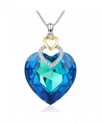 Fearless LoveBlue Heart Pendant Crystal Necklace with Swarovski Crystal Angelady Jewelry Gifts - Blue - CP186SYLYYQ