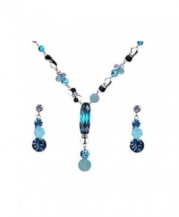 Synthetic Zircon Pacific Opal Blue Swarovski Crystal Dangle Earring Necklace Jewelry Set - CO116N07U83