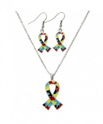 "PammyJ Silvertone Autism Ribbon Pendant Necklace and Earring Set- 18"" + 3"" ext - CF11CIM0ZCN"