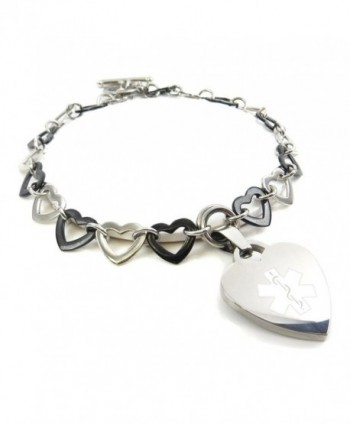 MyIDDr - Pre-Engraved & Customized Women's Epilepsy Toggle Medical Charm Bracelet- Black & Steel Hearts - CI11KGV6YAT