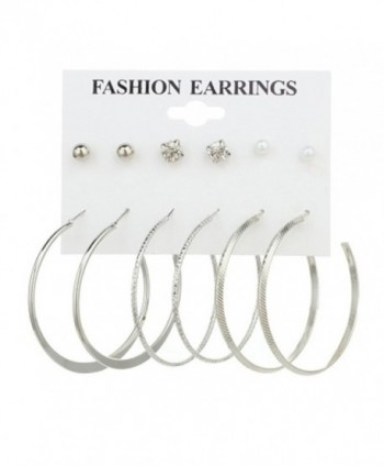 Cyntan Multiple Punk Hoop Earring Set Synthetic Pearls Stud Earrings Set For Women Silver Tone - Silver 1 - C7186IUX2U0
