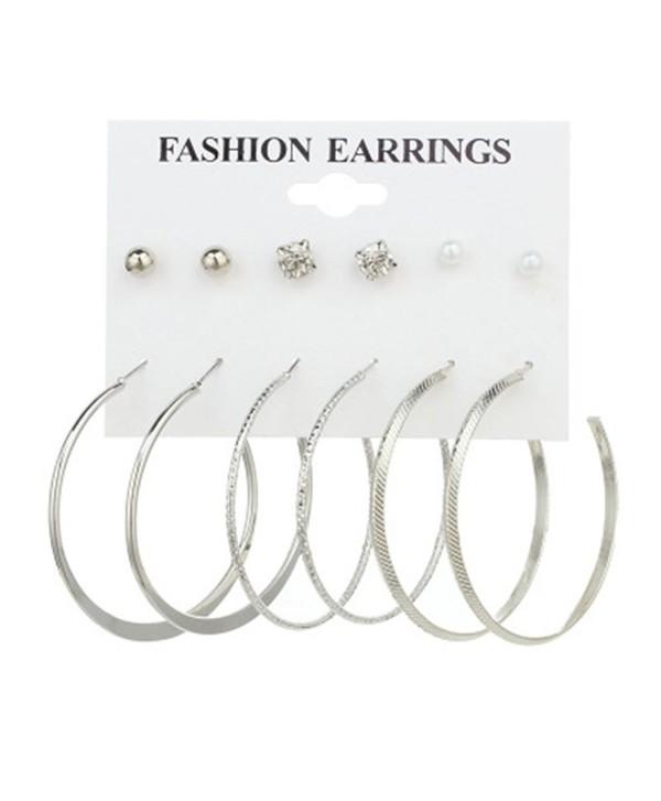 Cyntan Multiple Punk Hoop Earring Set Synthetic Pearls Stud Earrings Set For Women Silver Tone - Silver 1 - C7186IUX2U0