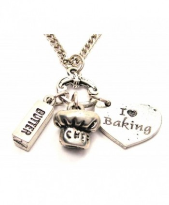 "I Love Baking Heart with Stick of Butter and Chef Hat Charms 18"" Fashion Necklace - CS11BHN3J6X"