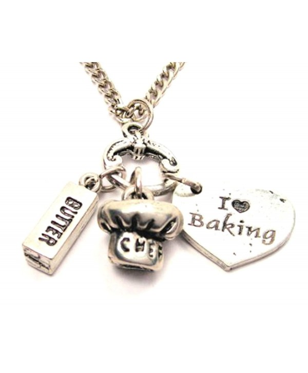 """I Love Baking Heart with Stick of Butter and Chef Hat Charms 18"""" Fashion Necklace - CS11BHN3J6X"""