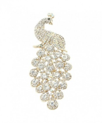 EVER FAITH Austrian Crystal Elegant Peacock Bird Animal Brooch Pendant Gold-Tone - Clear - CP11GEQH8Y7