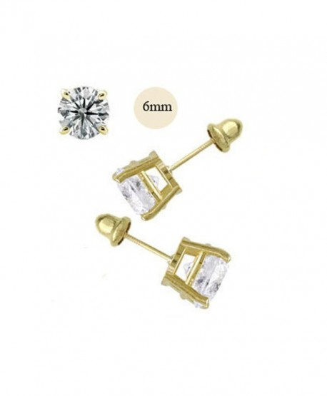 14K Yellow Gold 6mm Round Simulated Diamond Stud Earring Set on Prong Setting- Screw Back Post - CH11ZZF5I2R
