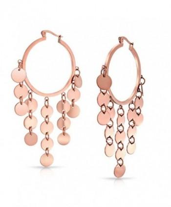 Bling Jewelry Bohemian Disc Dangle Chandelier Rose Gold Plated Steel Hoop Earrings - C611FKT5M97