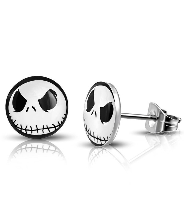 Stainless Steel Jack Skellington Round Circle Button Stud Post Earrings - Silver - CK184ZQ78KQ