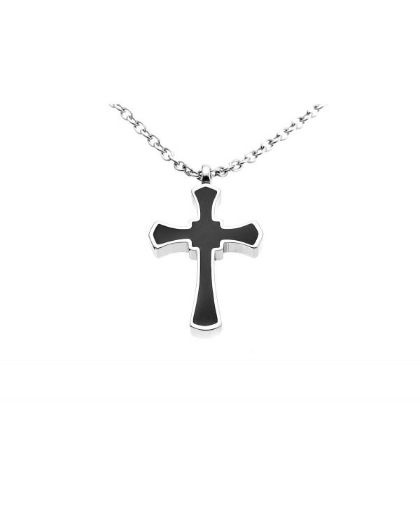 Black Cross Premium Stainless Steel Pendant Necklace Urn Filler Kit Cremation Ashes Jewelry Keepsake - CI1295UG579
