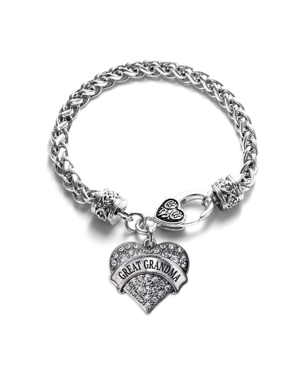Inspired Silver Great Grandma Pave Heart Braided Bracelet - CG12F6522VP