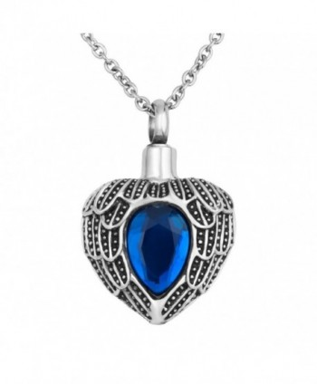 "Birthstone Necklace Memorial Cremation Stainless - "" Blue "" - CM12GDWCD0P"