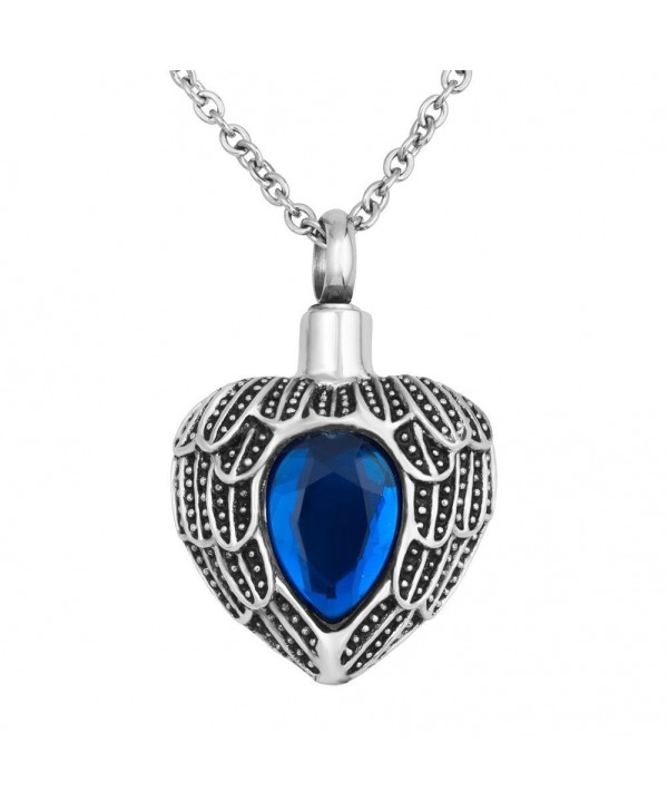 """Birthstone Necklace Memorial Cremation Stainless - """" Blue """" - CM12GDWCD0P"""