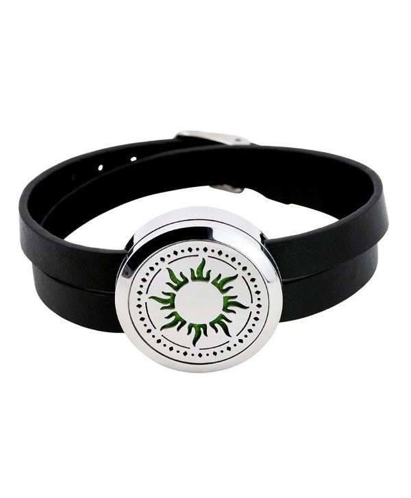 IU Mode Stainless Steel Aromatherapy Essential Oil Diffuser Bracelet Leather wrap Locket Bracelet - C212O8VBFBE